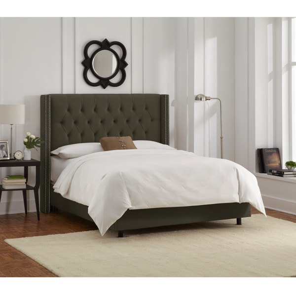 Skyline Furniture Pewter Velvet Diamond Tufted Wingback Nail Bed