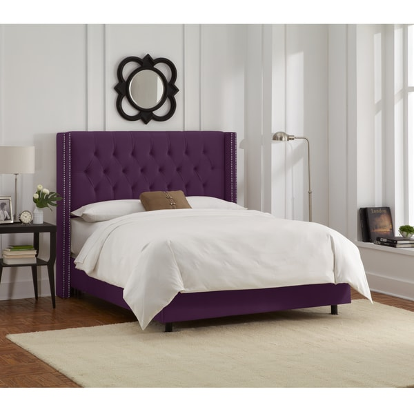 Skyline Furniture Aubergine Velvet Diamond Tufted Wingback Nail Bed