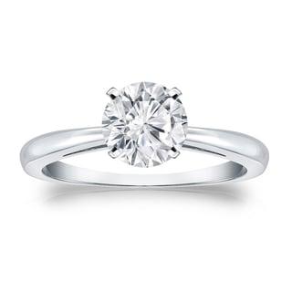 Auriya Platinum 1ct TDW Round-cut Diamond Solitaire Engagement Ring (H-I, VS1-VS2)