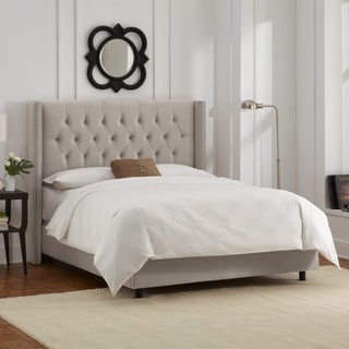 Skyline Furniture Light Grey Velvet Diamond Tufted Wingback Nail Bed