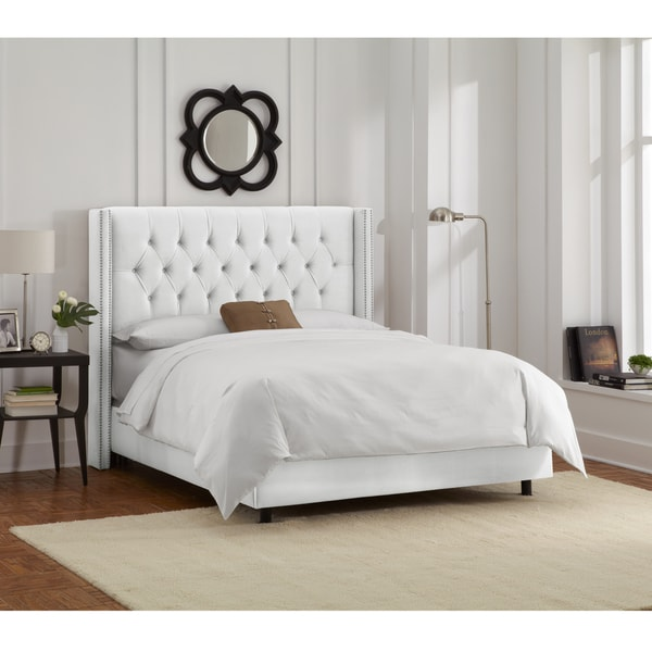 Skyline Furniture White Velvet Diamond Tufted Wingback Nail Bed