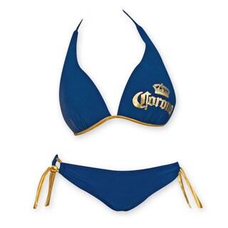 Corona Extra Navy Blue Push Up Halter Loop Side Tie Bottom Bikini