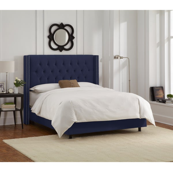 Skyline Furniture Navy Velvet Diamond Tufted Wingback Nail Bed