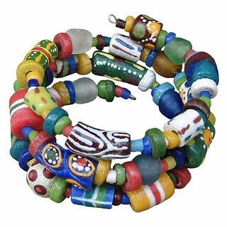 Global Mamas Hodge Podge Spiral Rainbow Bracelet (Ghana)