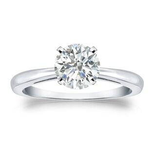 Auriya Platinum 1ct TDW Round-cut Diamond Solitaire Engagement Ring (I-J, SI1-SI2)