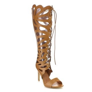 Beston GB11 Women's Mid Calf Gladiator Heels
