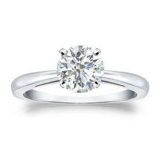 Auriya Platinum 1ct TDW Round-cut Diamond Solitaire Engagement Ring (I-J, SI1-SI2)