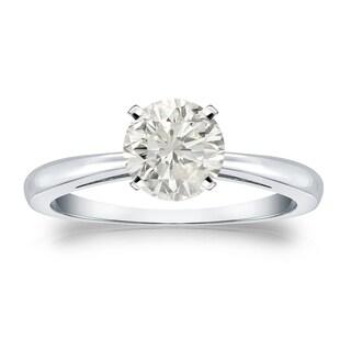 Auriya Platinum 1ct TDW Round-cut Diamond Solitaire Engagement Ring (J-K, I1-I2)