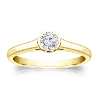 Auriya 18k Gold 1/4ct TDW Round-cut Diamond Solitaire Bezel Engagement Ring (H-I, VS1-VS2)