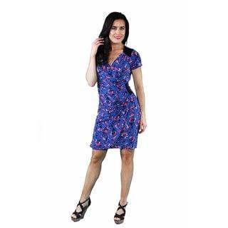 24/7 Comfort Apparel Women's Blue-Pink Rose Faux Wrap Knee-Length Dress