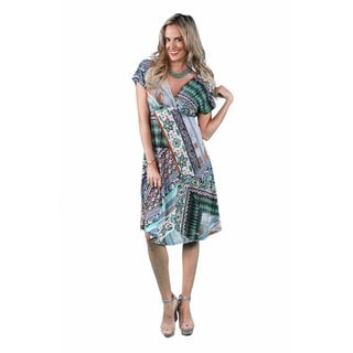 24/7 Comfort Apparel Women's Oriental Printed Empire Dress