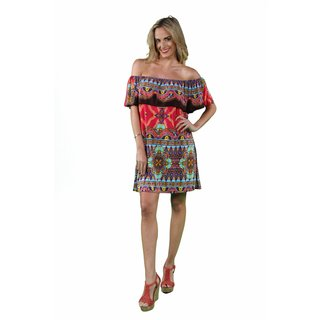 24/7 Comfort Apparel Women's Pink-Brown Mandala Off Shoulder Dress