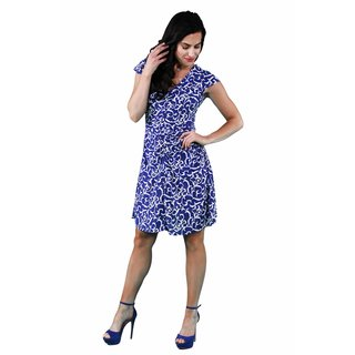 24/7 Comfort Apparel Women's Abstract Blue Shirred Dress