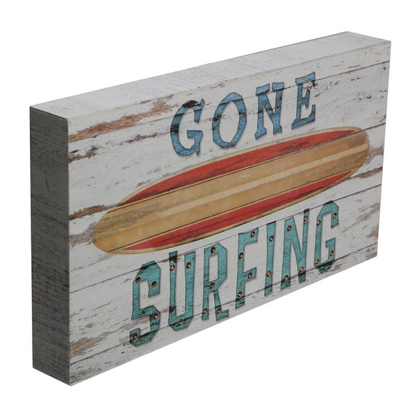 Order Wood Marquee Plaque with LED Lights-Gone Surfing