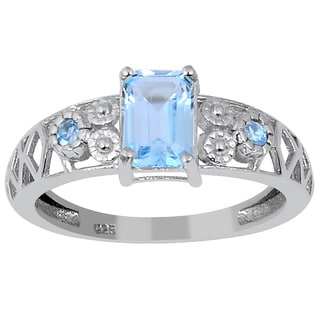 Orchid Jewelry's' 1.30ct Genuine Blue Topaz 925 Sterling Silver Ring