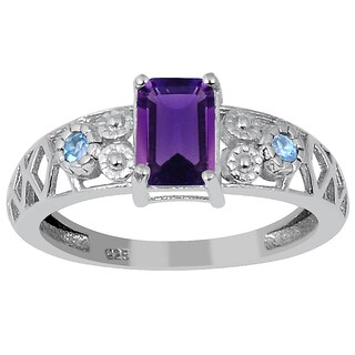 1.10ct Genuine Amethyst and Blue Topaz 925 Sterling Silver Ring