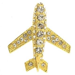 Golden Airplane Brooch