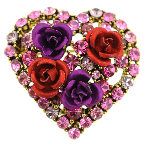 Rose Flower Heart Pin Brooch