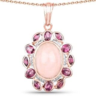 Olivia Leone 14k Rose Gold over Silver 9 1/2ct TGW Triple Gemstone Pendant