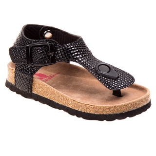 Rugged Bear Girls' Textured Faux Leather Chunky Strap Sandals