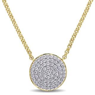Versace 19.69 Abbigliamento Sportivo SRL SRL Cubic Zirconia Geometric Circle Necklace in Yellow Plated S