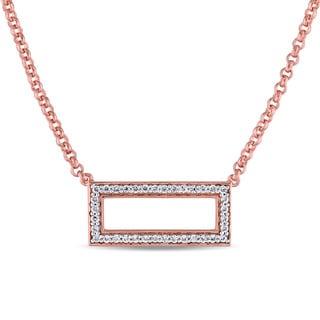 Versace 19.69 Abbigliamento Sportivo SRL SRL Cubic Zirconia Open Space Geometric Rectangle Necklace in R