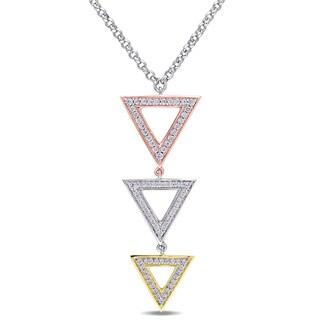 Versace 19.69 Abbigliamento Sportivo SRL SRL Cubic Zirconia Geometric Triangle Necklace in Tri-color Whi