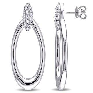 Miadora Sterling Silver Cubic Zirconia Drop Oval Hoop Earrings