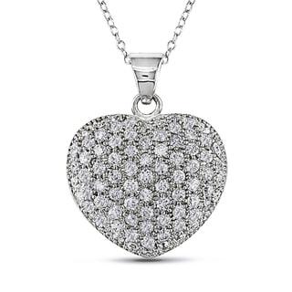 Versace 19.69 Abbigliamento Sportivo SRL Cubic Zirconia Insignia Heart Necklace in Sterling Silver