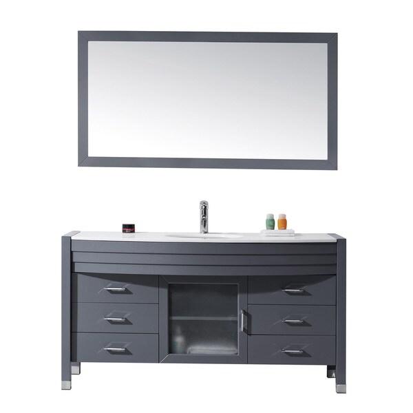 Figi  Inch Double Sink Bathroom Vanity Set With Mirror And Faucet