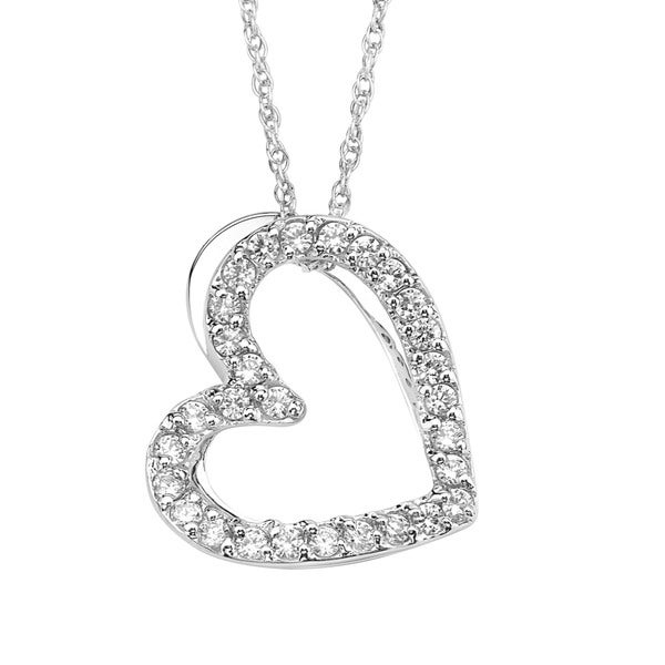 Sterling Silver Cubic Zirconia Floating Heart Pendant