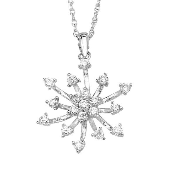 Sterling Silver Cubic Zirconia Burst Pendant