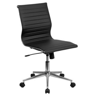 Sleek Armless Black Ribbed Leather Swivel Adjustable Office Chair