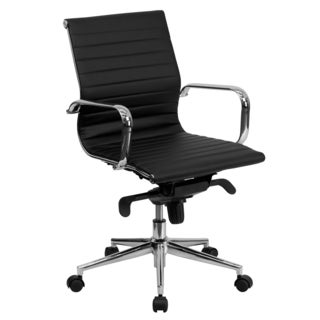 Sleek Black Ribbed Leather Swivel Adjustable Office Chair