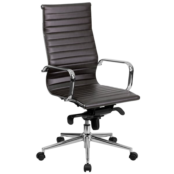 Sleek High-Back Brown Ribbed Leather Executive Adjustable Swivel Office Chair 17701364