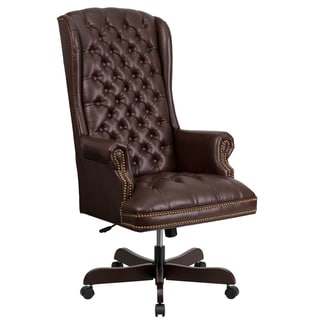 Button Tufted Brown Leather Adjustable Executive Swivel Wing Office Chair
