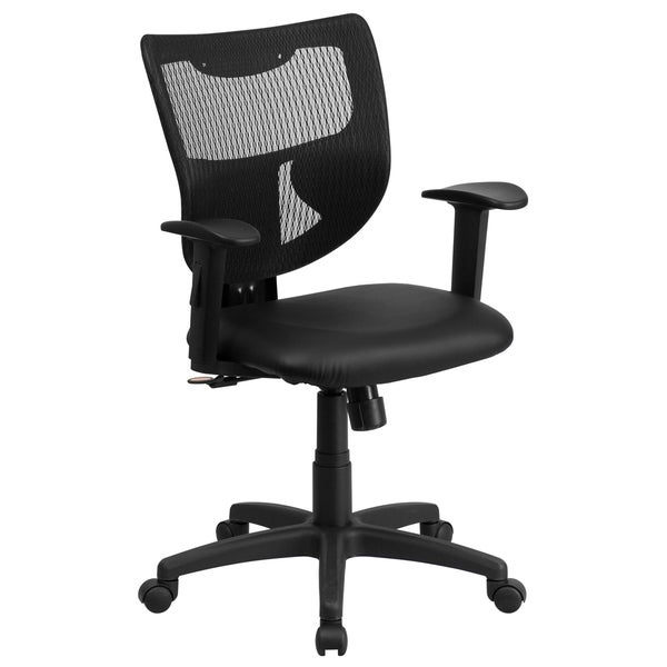 Lutea Black Mesh Designer Back Swivel office Chair with Padded Leather Seat and Height Adjustable Arms