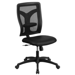 Rubeo Black Mesh Armless Executive Swivel Office Chair with Padded Leather Seat