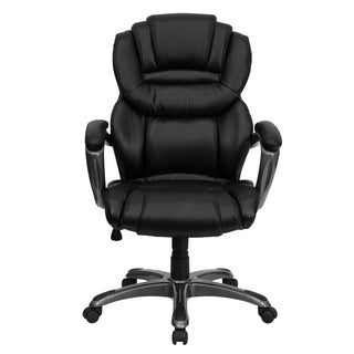 Black Leather Executive Swivel Adjustable Office Chair with Arms and Titanium Colored Base