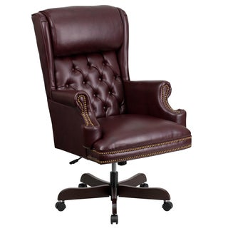 Executive Traditional Button Tufted Burgundy Leather Swivel Adjustable Office Chair