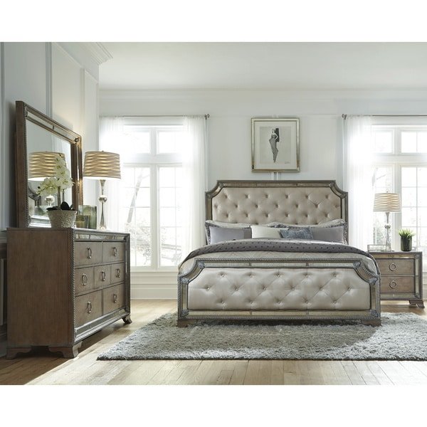 Abbyson Valentino Mirrored And Tufted Leather King Bed