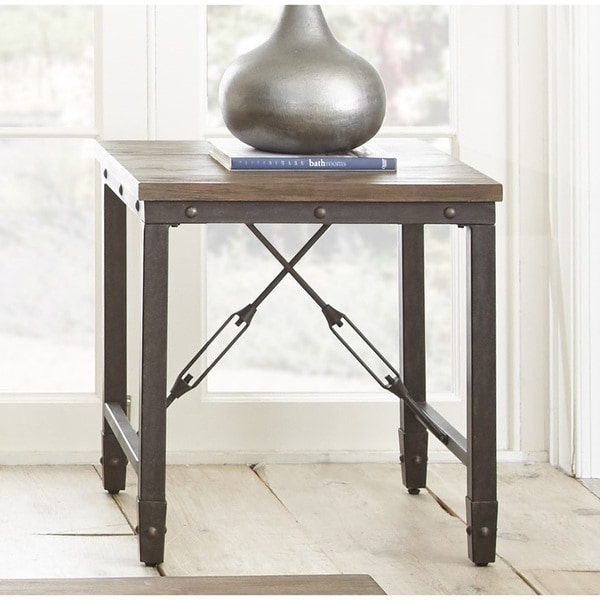 Vedel Industrial Loft Zinc Wood Rectangle Coffee Table: Greyson Living Jarno End Table