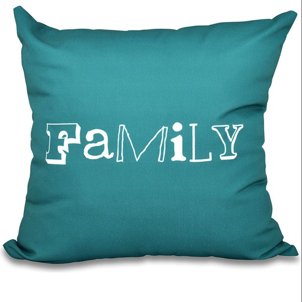 Family Word Print 26-inch Throw Pillow
