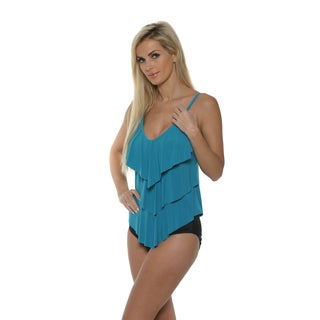Magicsuit by Miraclesuit Women's Solid Jersey Rita All Over Tiered Tankini Two-Piece