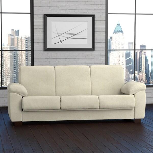 Portfolio Wrangler Convert-a-Couch Cream Pebbles Futon Sleeper Sofa