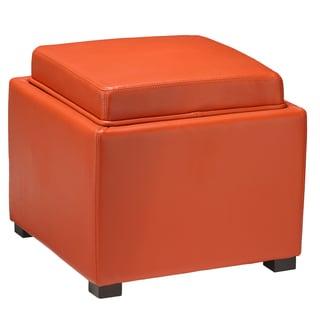 Cortesi Home Burnt Orange Bonded Leather Storage Tray Ottoman