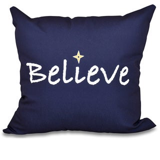 Believe Word Print 20-inch Throw Pillow