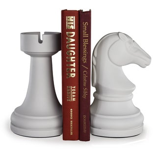 Danya B Chess Rook vs Knight Bookend Set - White