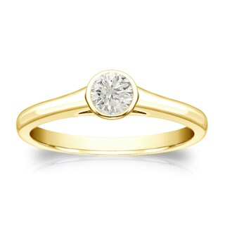 Auriya 18k Gold 1/4ct TDW Round-cut Diamond Solitaire Bezel Engagement Ring (J-K, I1-I2)