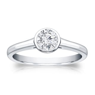 Auriya 18k Gold 1/3ct TDW Round-cut Diamond Solitaire Bezel Engagement Ring (H-I, VS1-VS2)